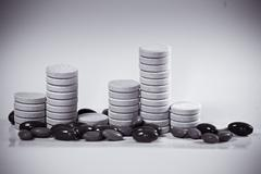 tablet stack as a bar graph - stock photo