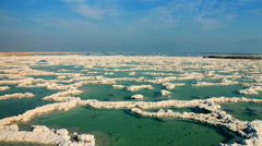 Dead sea salt - aerial  Stock Footage