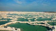 Dead sea salt - aerial  Stock Footage