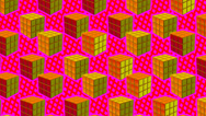 Stock Video Footage of Comic Rubik cube pink and orange