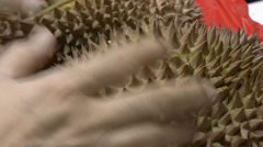 Finding ways to open up thorny durians.(OPEN A DURIAN--3) Stock Footage