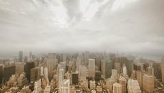 time lapse city. cityscape. overlooking city. nyc. skyline. foggy cloudy weather - stock footage