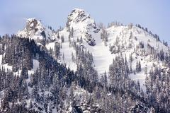Snowy mount alaska peaks snoqualme pass wenatchee national forest washington Stock Photos
