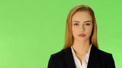 Young business woman talking and advertising. Stock Footage