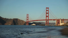 Golden Gate Bridge Day with Calm Waves on Beach Stock Footage
