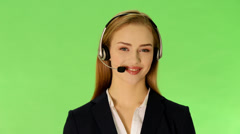 Young business woman at call center. Stock Footage