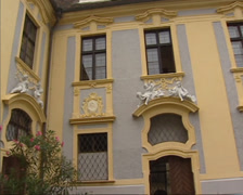 Courtyard Durnstein Abbey with baroque decorations Stock Footage