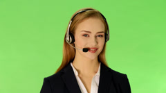 young business woman at call center. - stock footage