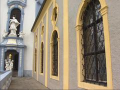 Durnstein Abbey gallery + tilt up bell tower Stock Footage