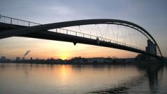 Time lapse. romantic sunset. day to night. bridge landscape. lake pond Stock Footage
