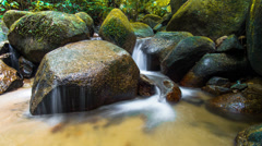 Timelapse Water And Green Rock. Loopabale 720p Stock Footage