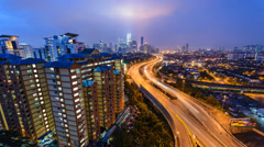Timelapse Cloudy Sunset KL Cityscape From Berembang (Reversed) 4K Stock Footage