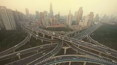 Time lapse,heavy traffic on highway interchange,serious Shanghai pollution haze Stock Footage