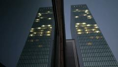 modern glass tower building. mirror reflection. night lights - stock footage