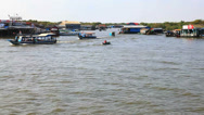Stock Video Footage of Boats sailing in tonle sap in siem reap, cambodia