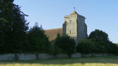 Old English Church in Countryside Close Stock Footage