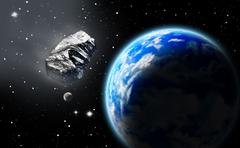 asteroid in space approaching earth - stock illustration