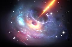 heavy black hole with plasma jet - stock illustration