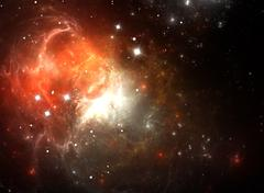 Stock Illustration of red space nebula in gas, dust, and stars
