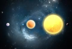 extrasolar planets. world outside of our solar system - stock illustration