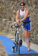 Triathlete on transition zone - stock photo