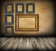 art indoor background with beautiful wood frames - stock illustration