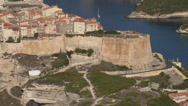 Stock Video Footage of aerial corsica bonifacio citadel