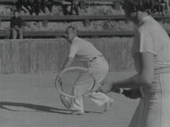 Vintage tennis match. circa 1946 Stock Footage