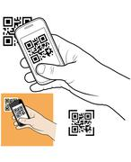 hand with smart phone taking qr code - stock illustration