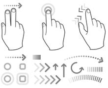 touch screen gesture hand signs - stock illustration