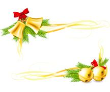 Jingle bells and christmas decorative corners Stock Illustration