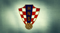 Croatia Logo Flag Treated Stock Footage