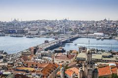 View on istanbul and galata bridge Stock Photos