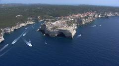 Aerial corsica bonifacio city Stock Footage