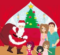 Family christmas at home Stock Illustration