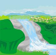 Waterfall in hills Stock Illustration