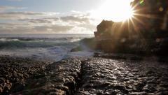 Waves breaking onto Rock Shelf Stock Footage