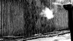 Thunderstorm in a dark deserted alleyway with audio Stock Footage