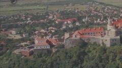 Zoom in establishing shot of Palanok Castle Stock Footage
