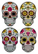 Day of the dead skull vector set Stock Illustration