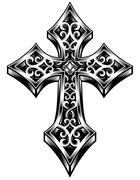 ornate celtic cross - stock illustration