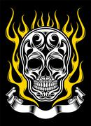 Ornate flame skull Stock Illustration