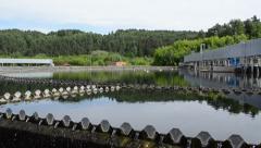 Reservoir cleaned sewage water clarification treatment waterwork Stock Footage