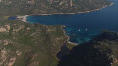 Aerial corsica coast sea Stock Footage