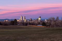 Pink Clouds over Downtown Denver - stock photo