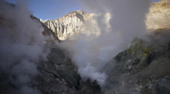 Stock Video Footage of Crater of active volcano with fumaroles and geysers in Kamchatka peninsula