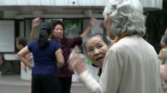 close up from Elderly ladies working out - stock footage