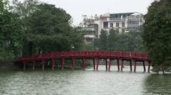 The Huc Bridge in the Hoan Kiem Lake, Hanoi, Vietnam Stock Footage