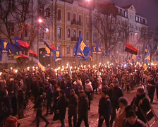 Torchlight procession Stock Footage