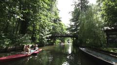 Boat trip, Spreewald 01 Stock Footage